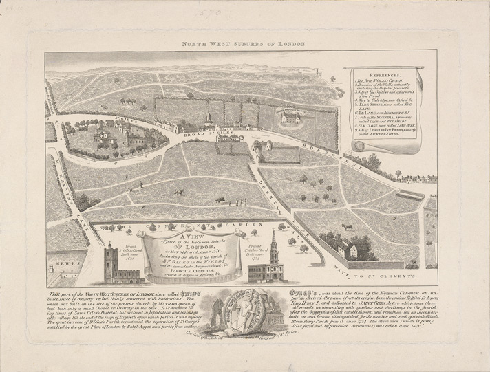 A view of part of the north-west suburbs of London, as they appeared, anno 1570